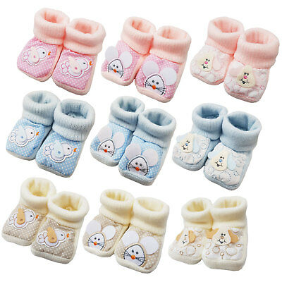 Baby Boys Girls 1 Pair Baby Booties With Embroidery Soft Booties 0-3 Months 347