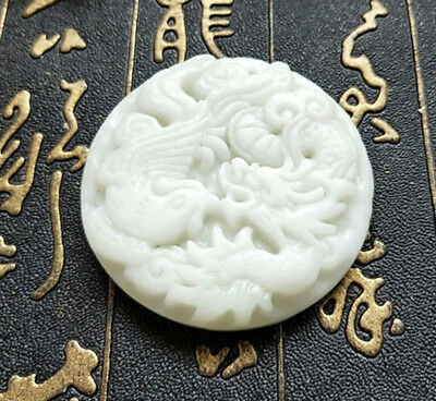 Collect Chinese natural old white Jade Carved Amulet Pendant Never betray