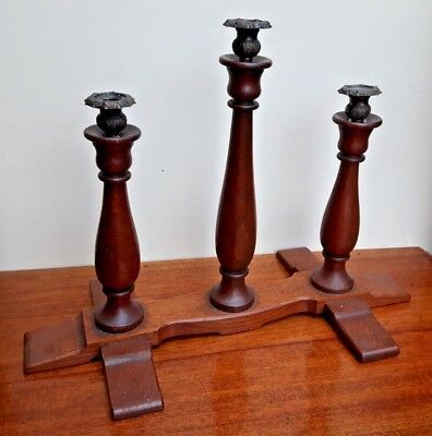 Unusual Oak Gothic Ecclesiastical Style 3 Branch Candelabra Candlesticks