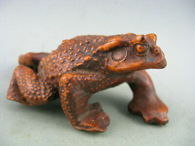 Antique Chinese Old Boxwood Hand-Carved Frog Statue