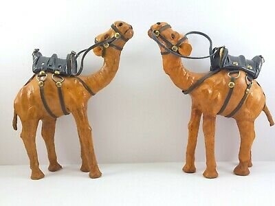 """Vintage Leather Wrapped Nativity Camel Figures 8"""" Set of 2 Dromedary Figurines"""