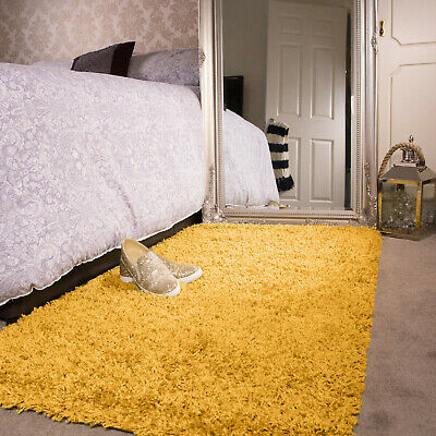 Mustard Yellow Bedroom Shaggy Rug Warm Thick Fluffy Non Shed Cosy Beside Rugs