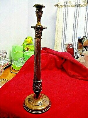 "Unusual 17"" Cast Brass Candlestick, Heavy 2.9 lb. Good Detail Quality Not Marked"