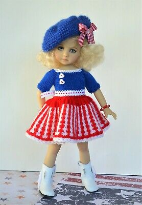 "Dianna Effner 13"" Little Darling Patriotic Woolen DRESS and Beret"