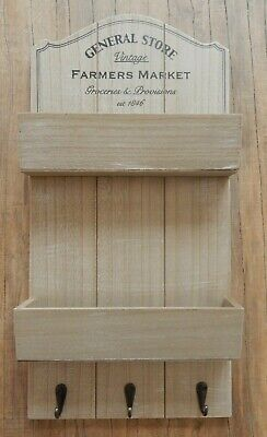 """""""General Store"""" Wood Letter Key Rack Holder Shelf Unit Wall Mounted Rustic Style"""