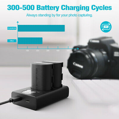 2x 7.4V 2100mAh Recharged LP-E6 Camera Battery Charger Set For Canon 5D Mark II