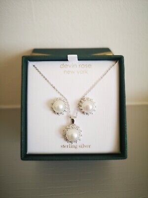 *New* Devin Rose Sterling Silver Earrings and Necklace Pearl and Diamond Set