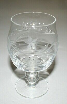 Six Crystal Glasses Brandy Cordial Cognac Snifters, Etched Grapes On Vine Design