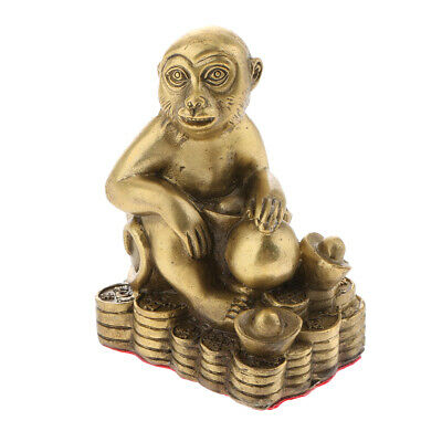 Lucky Chinese Brass fengshui Animal Zodiac Statue Figurine-Monkey