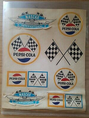 RARE Vintage Pepsi Cola Nascar Sticker Sheet READ
