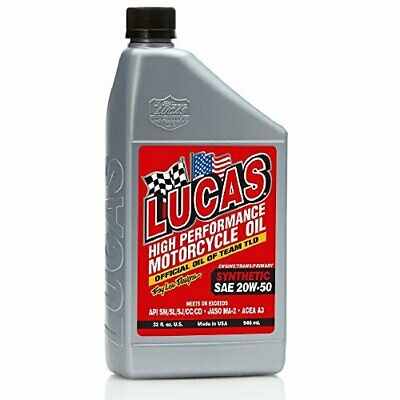 Lucas Oil 10702 Sae 20W-50 Synthetic Motorcycle Oil - 1 Quart Bottle