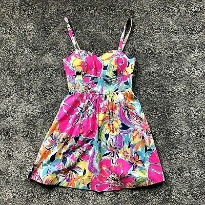 7471469efcf1e8 Women's Lilly Pulitzer Sun Dress Christine Size 4 Floral Print Pink Blue  Yellow