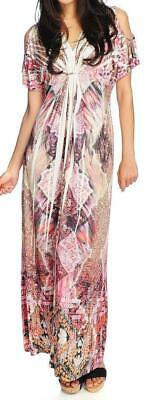 NEW - One World Micro Jersey Short Sleeved Cold Shoulder Printed Maxi Dress