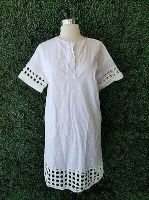 600936669d ZARA White Cotton Eyelet Cut Out Embellished Tunic Dress XS Vacation Resort  Wear