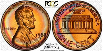 1968-S 1 Cents Lincoln Memorial Penny Bu Pcgs Pr67Rb Graded & Toned None Higher!