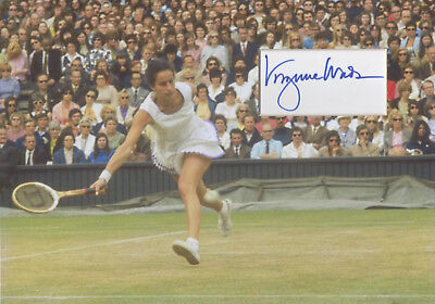 VIRGINIA WADE Signed 12x8 Photo Display WIMBLEDON TENNIS Champion COA