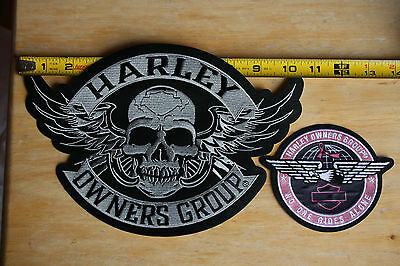 "Harley Owners Group ""No One Rides Alone"" & Large WINGED SKULL 2-Patch HOG set"