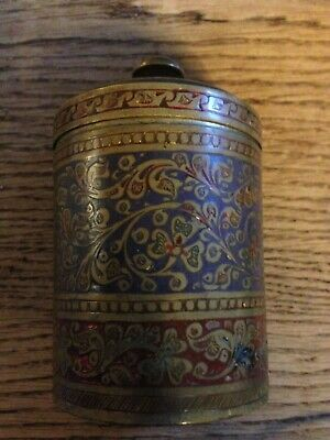 Antique Indian Brass and Enamel Container Tea / Tobacco British India Made SMI