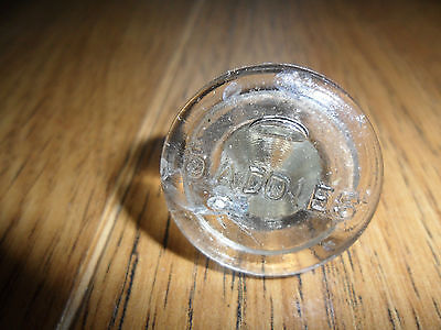 Vintage Two Clear Glass Stoppers One With Daddies (Sauce) Written On Top