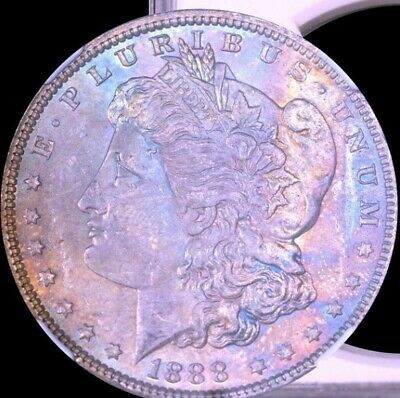 1888 Morgan Silver Dollar NGC MS64 Color Toned High Grade Coin