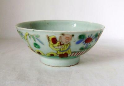 C.19th Chinese Provincial Celadon Bowl with Enamel Figural Decoration A/F