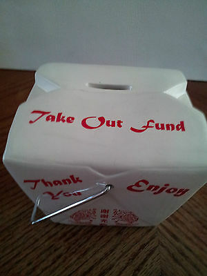 "Chinese Restaurant ""Take Out Fund"" Container Bank, Ceramic, Unique Novelty"