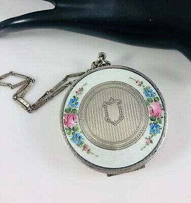 Antique F&B Silver Plate&Enamel Round Two Compartment Powder & Rouge Compact