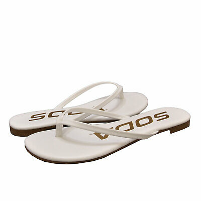 Soda Shoes Women Flip Flop Basic Plain Sandals Strap Casual Beach Gold SEASHELL