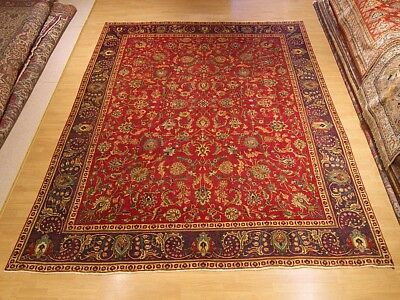 Vintage 9.6 x 12 Hand Knotted Antique 1930s Persian Oriental Rug_Veggie Dye Wool