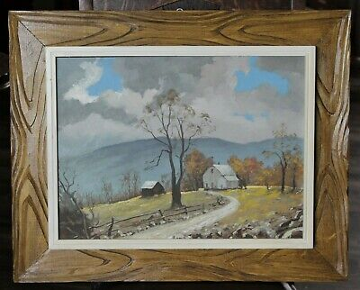 Original Framed Canadian Country Home On Hill Landscape Painting