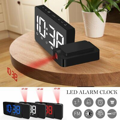 LCD Digital LED Projector Projection FM Radio Snooze Alarm Clock Creative Screen
