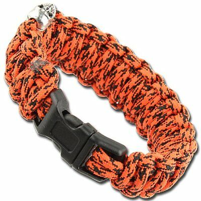 Skullz Survival Military Braided Paracord Bracelet - Atomic Red