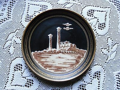 """Vintage hand painted red clay pottery plate Greek Temple of Zeus Black & Gold 7"""""""