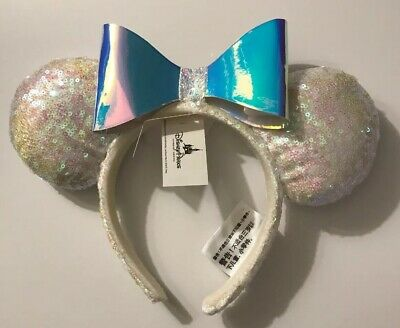 Disney Parks Iridescent Glitter Sequin Minnie Mouse Ears Headband