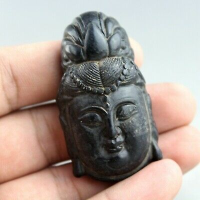2.2'' China old jade Chinese hand-carved Kwan-yin statue jade pendant 0339