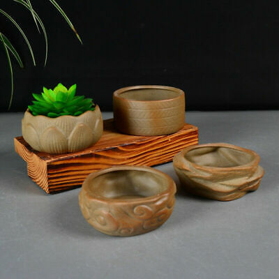 Mine Ceramics Chinese Style Bonsai Flower Pot Plain Color For Garden Home Decor