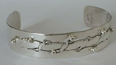Vtg Mexico Taxco TL-118 Sterling Silver Flattened Cut Out Rope Cuff Bracelet