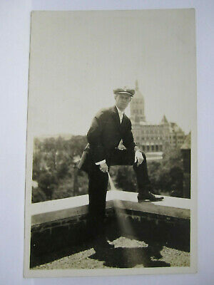 Man On Roof Capital Building Real Photo Postcard Hartford Ct Connecticut Rppc