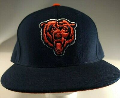 new styles 88945 a4f0c Vintage Wool Mitchell   Ness NFL CHICAGO BEARS Fitted Flat Hat Cap 7 1 2