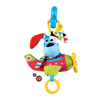 Motion Activated Musical Plane Baby Toy Dog Tap and Play for Stroller Carrier