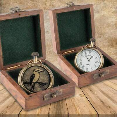 Vintage Kookaburra Engraved Brass Pocket Watch
