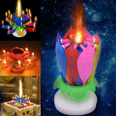 Birthday Candle Rotating Double Deck Blossom Party Lotus Flower Magic Musical