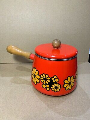 Enamel Retro Fondue Pot Red Print Wood Handles Made In Japan (2-44)