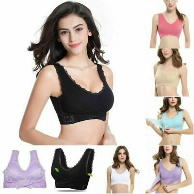 The Gentle Bra Ladies Plain Color Front Cross Side Lace Sports Full Cup Bra