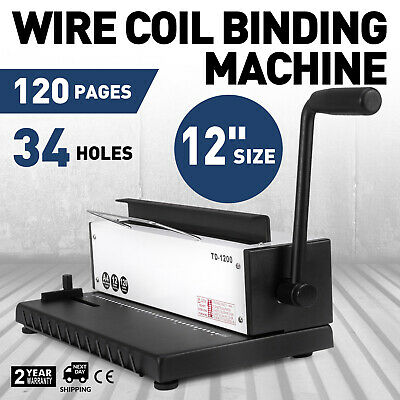 New Punching Binding Machine Binder Puncher All Steel Metal Wire Coil 34Holes