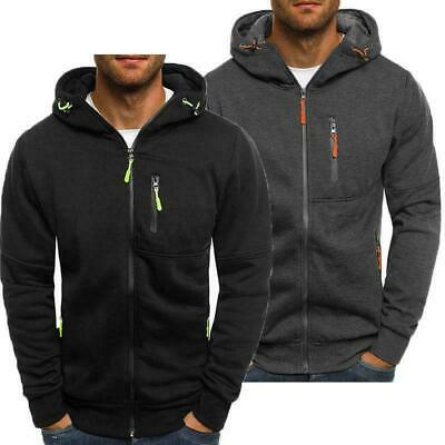 Men's Solid Zip Up Hoodie Winter Warm Hooded Sweatshirt Jacket Coat Tops Outwear