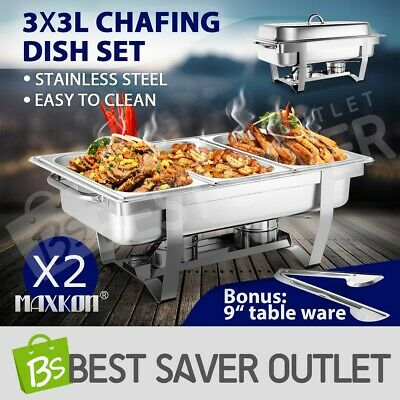 2x Stainless Steel Chafing Dish Bain Marie Bow Food Buffet Heat Warmer Tray 3Lx3