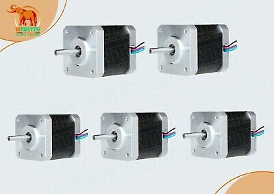 EU Free!WANTAI 5PCS Nema17 42BYGHW208 0.4A 2800g.cm, 34mm, 4-Lead, 3D Printer