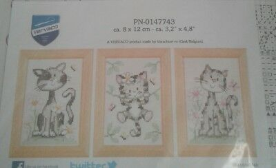 Cats & Flowers Set of 3 Vervaco Counted Cross Stitch Kit - PN-0147743