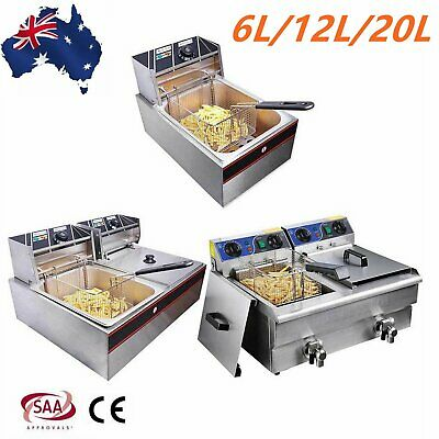 6L/12L/20L Commercial Electric Deep Fryer Frying Chip with Basket Cooker Kitchen